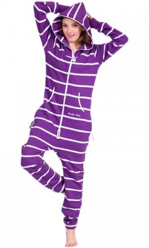 Комбинезон Stripe purple and white