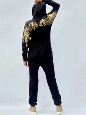 Кобинезон черный с крыльями на спине THE ONE ангел Angel