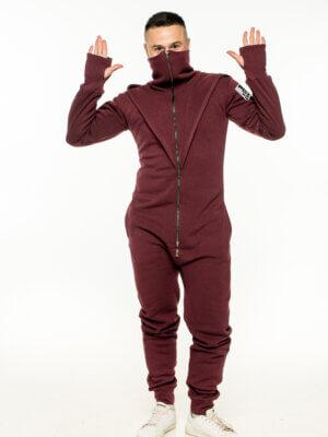 Теплый мужской комбинезон на флисе The One унисекс винный бордовый маской
